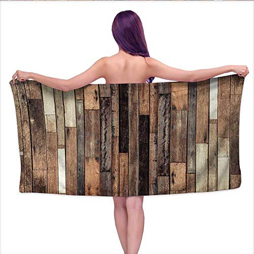"duommhome Wooden Soft Luxury Bath Sheet Set Brown Old Hardwood Floor Plank Grunge Lodge Garage Loft Natural Rural Graphic Artsy Print Bath Towel 3D Digital Printing Set W 31.5"" x L 63"" Brown"