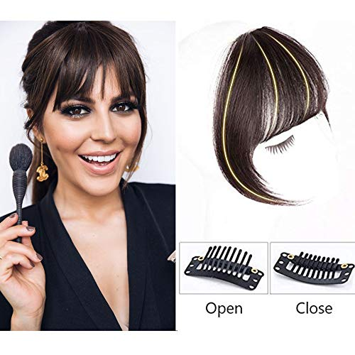 GongXiu Clip in Bangs Real Human Hair Extensions Dark Brown Clip On Fringe Bangs Straight Flat Bangs with Temples for women One Piece Hairpiece