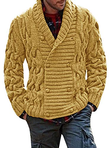 Mens Cardigan Sweaters Thick Shawl Collar Double Breasted Cable Knitted Chunky Button Cardigans Khaki