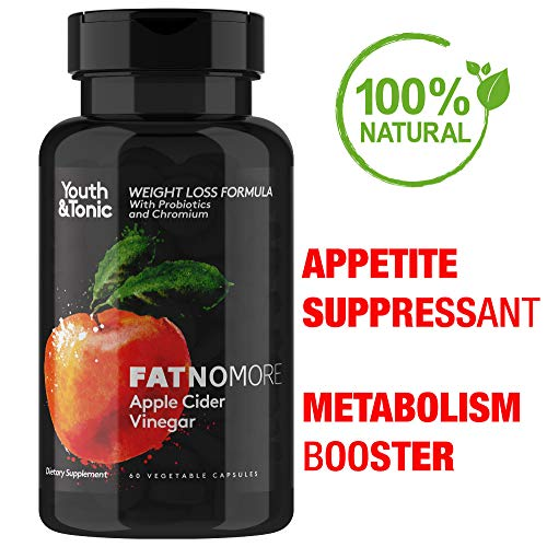 Maximum Concentrated ACV w/Probiotics Chromium Cayenne | Appetite Suppressant | Metabolism Booster | Detox Cleanse Weight Loss | Bloating Relief | Diet Pills | 60 Veggie Apple Cider Vinegar Capsules ()