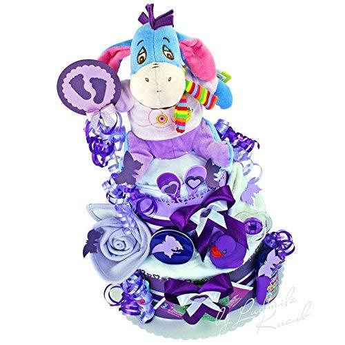 Taufe Windeltorte//Pamperstorte  Babygeschenk f/ür Jungen in sch/önem Violett-Lilaton //// Geschenk zur Geburt Babyparty //// originelles und praktisches Geschenk f/ür Babys
