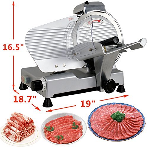 SUPER DEAL Stainless Steel Electric Meat Slicer 10'' inch Blade Home Kitchen Deli Meat Food Vegetable Cheese Cutter Thickness Adjustable Spacious Sliding Carriage, 240W 530 RPM by SUPER DEAL (Image #2)