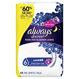 Always Discreet Incontinence Pads for Women, Extra Heavy Absorbency, Long Length, 45 Count