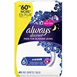 Always Discreet, Incontinence Pads for Women, Ultimate Overnight, Long Length, 45 Count