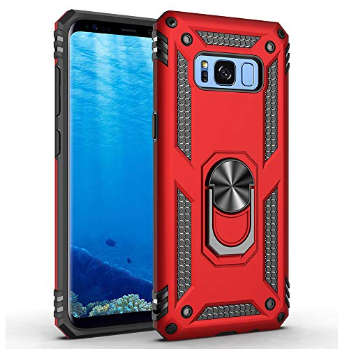 Military Grade Drop Impact for Samsung Galaxy S8 Plus Case(Galaxy S8+) 360 Metal Rotating Ring Kickstand Holder Built-in Magnetic Car Mount Armor Shockproof Cover for Galaxy S8+ Phone Case (Red)