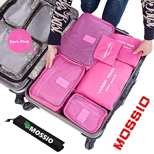 (Travel Bag,Mossio 7pcs Luggage Pouch Durable Compact Trip Gears Dark Pink)