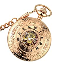 MonkeyJack Vintage Flower Engraved Case Skeleton Hand-winding Mechanical Pocket Watch Long Chain Pendant Rose Gold