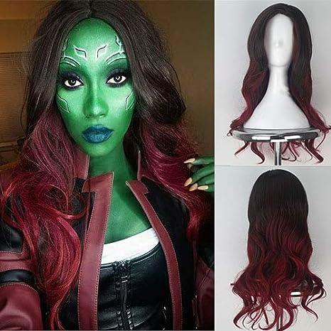 Peluca para disfraz de pájaros azules Guardianes de la Galaxia Gamora para mujer, larga,