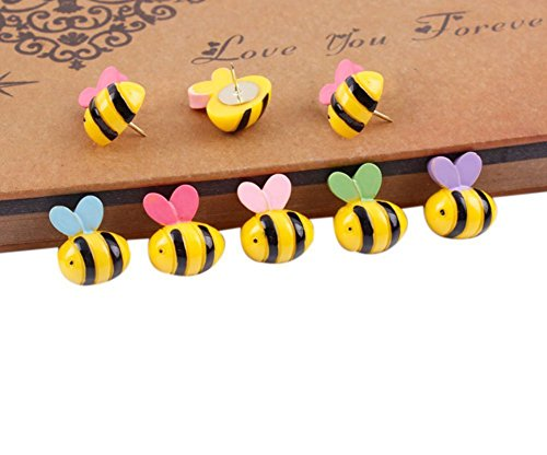 Bee Pens - Yalis Decorative Thumb Tacks 15 Pcs Bees Push Pins Colorful for Feature Wall, Whiteboard, Corkboard, Photo Wall