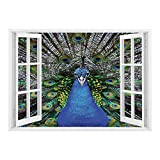 magnificent peacock wall mural SCOCICI Removable Wall Sticker/Wall Mural/Peacock,Magnificent Peacock Portrait with Vibrant Colorful Feathers Photo Pattern,Blue Green Brown/Wall Sticker Mural