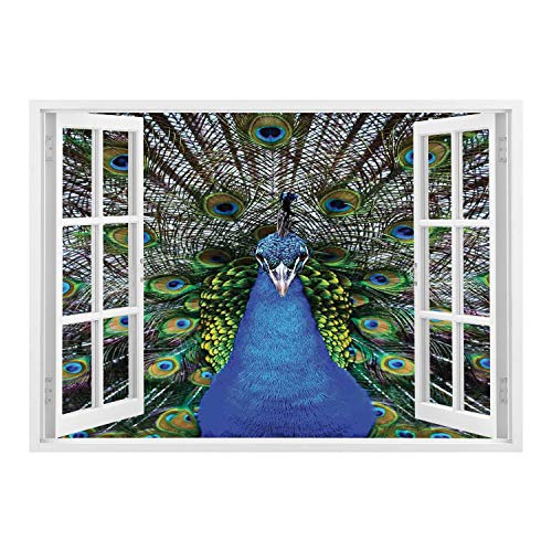 SCOCICI Removable Wall Sticker/Wall Mural/Peacock,Magnificent Peacock Portrait with Vibrant Colorful Feathers Photo Pattern,Blue Green Brown/Wall Sticker Mural