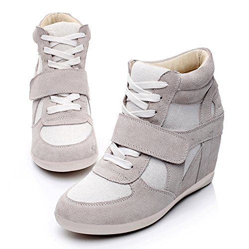 7b565fe748e3c8 ... Rismart Femmes Lacets Légers Jusquà Chaussures Dascenseur Coin Haut Talon  Chaussures De Mode Gris 8522 Us6