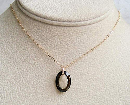 Dark Olive Green Cosmic Oval Ring 16 Inch Gold Filled Necklace Made With Swarovski Crystal Gift Idea ()