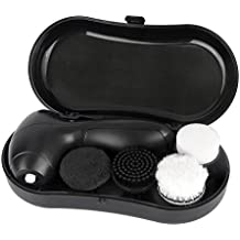 Men Women Electric Shoe Brush Shine Kit, Kobwa Portable Shoe Cleaner Brush In a Case For Leather Shoe or Other Leather Things with 4 Interchangeable Heads