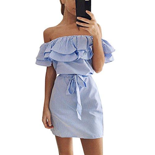 Hotcl Cocktail Off Shoulder Dress,Womens Off Shoulder Stripe Ruffle Bodycon Mini Evening Party Club Dress Ball Gowns Sundress 2019 Summer (Blue, L)