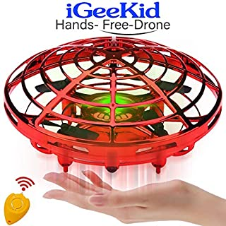 iGeeKid Hand Operated Mini Drones Kids Flying Ball Toy for Boys Girls Age 4-14 Year Infrared Induction Helicopter UFO Drone with 360° Rotating LED Light Outdoor Sports Toy[Red]