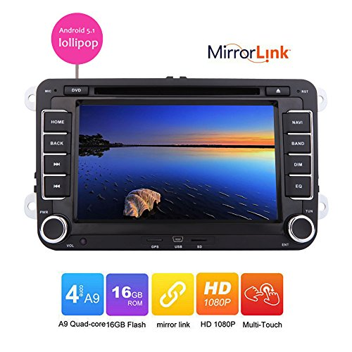 Eincar Android 5.1 lollipop Car DVD player for VW Golf 5 6 Polo Passat CC Jetta Tiguan Touran EOS Sharan Scirocco Caddy GPS Radio bluetooth wifi mirror link canbus capacitive touch screen support (Clear 3g 4g Wifi Hotspot Modem)