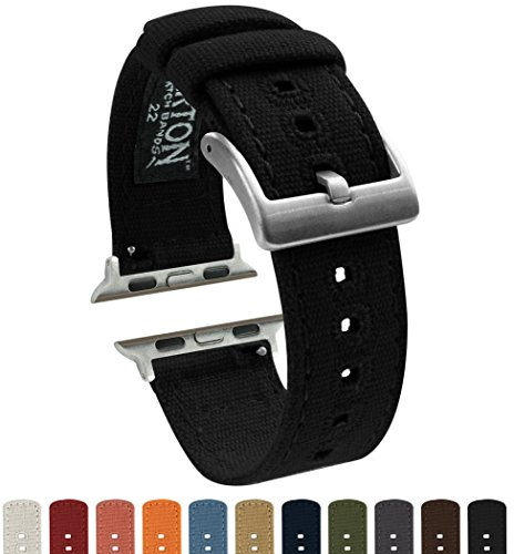 Barton Canvas Watch Bands - Choose Color - Compatible with All Apple Watches - 38mm, 40mm, 42mm, 44mm - Black 42mm