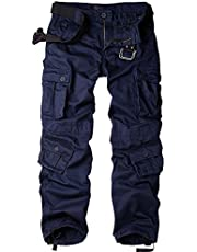 Jessie Kidden Men's Multi-Pocket Loose Cotton Cargo Pants, Casual Trousers with 8 Pockets