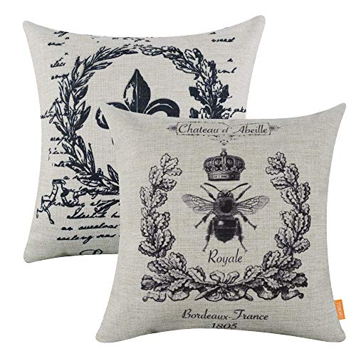 LINKWELL Pack of 2, Square Throw Pillow Covers Set Decorative Cushion Case for Sofa Bedroom Car Couch 18 x 18 Inch - Black Queen Bee and Fleur De LYS CC623-742 (Cushions Chair Fleur Lis De)
