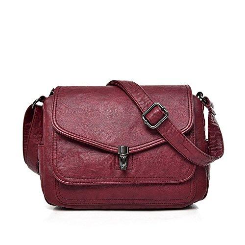 del Bolsas de señoras cruzado de hombro de de Majome PU del pequeñas retro Crossbody las los cuero mujeres Rojo las bolsos la de Bolso Cfxq7O