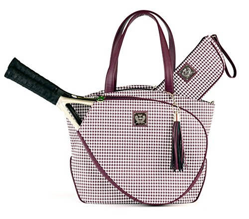 Cassanova Houndstooth Tennis Bag in Merlot