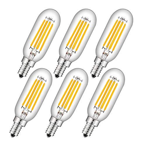 CRLight 4W 500LM Dimmable LED Candelabra Bulb 50W Equivalent 3000K Soft White, E12 Base T25(T8) LED Tubular Edison Bulbs, 360 Degree Beam Angle, 6 Pack