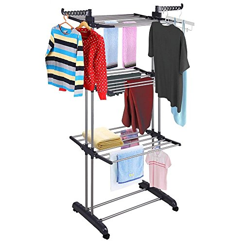 Modern Urban Rolling Collapsible Clothes Drying Rack 3-Tier