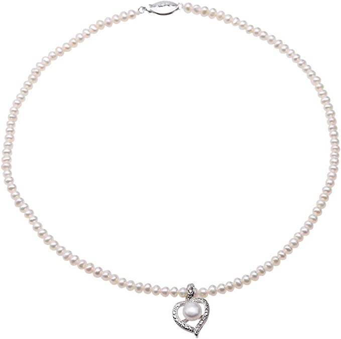 Amazon Com Jyx Pearl Choker Necklace For Women 4 5mm Flat Round White Freshwater Pearls With Heart Pendant Necklace For Daughter And Girls Gift 16 Clothing