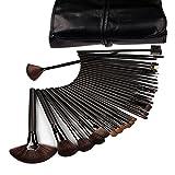 32 Pcs Black Rod Makeup Brush Cosmetic Set Kit with Case
