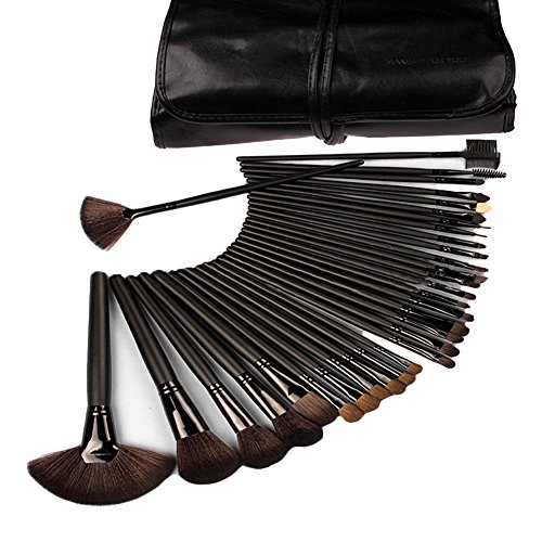 NYKKOLA 32pcs Premium Cosmetic Makeup Brush Set for Foundation Blending Blush Concealer Eye Shadow With Travel Makeup bag, Cruelty-Free Synthetic Fiber Bristles