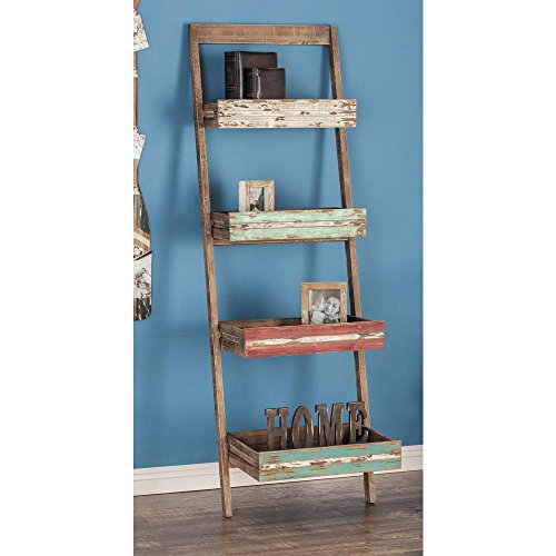 wood ladder with 5 wire baskets - 7