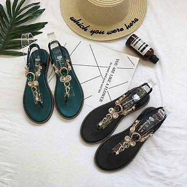 LvYuan Mujer Sandalias Confort PU Verano Confort Tacón Plano Negro Verde Plano Green