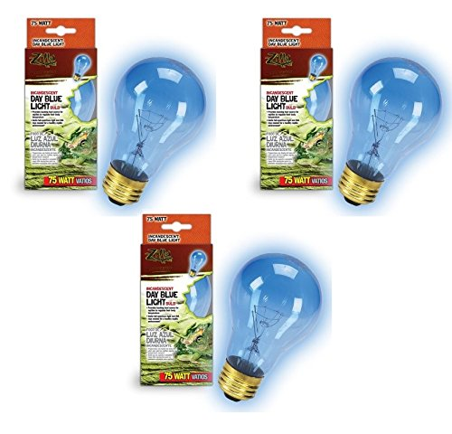 (3 Pack) Zilla Day Blue Light Incandescent Bulb for Reptiles Watt: 75 Watts