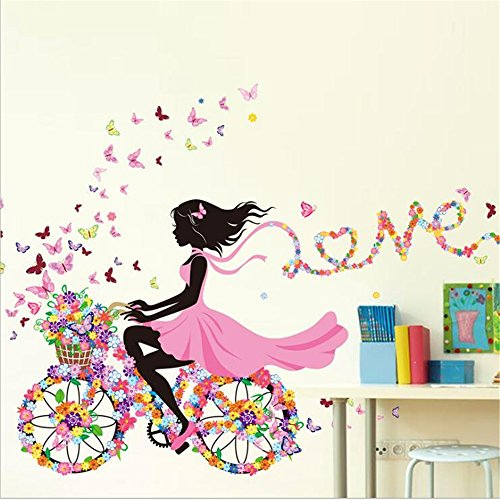 Amtoodopin Fairy Wall Stickers Bicycle Elf Girl Princess Wall Decals Window Film Butterfly Flowers Dancing Girls Angel Wings Wall Decor DIY for Windows Bedroom Living Room Decoration(Fairy Love) -