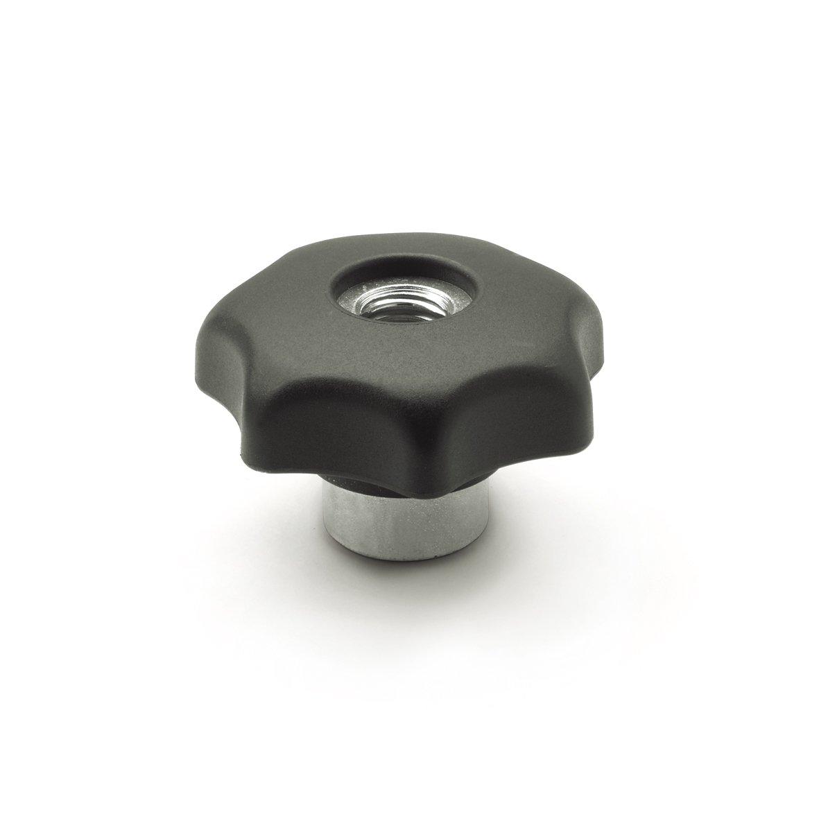 JW Winco Glass Filled Nylon Plastic Quick Release Hand Knob with Steel Hub, Threaded Through Hole, M10 x 1.5 Thread Size, 34mm Thread Depth, 50mm Head Diameter (Pack of 1)