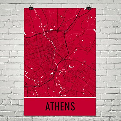 Athens Ga Poster, Athens Ga Art Print, Athens Ga Wall Art, Athens Ga Map, Athens Ga City Map, Athens Ga Georgia City Map Art, Athens Ga Gift, Athens Ga Decor, Blue and Yellow