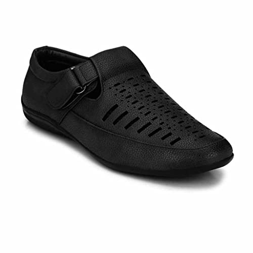 52a2349c998123 Levanse New Grey Velcro Closure Synthetic Leather Casual Roman Sandals for  Men Boys. (Size 10)  Buy Online at Low Prices in India - Amazon.in