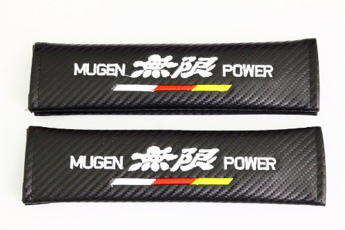 Spec-R Mugen Carbon Fiber Seat Belt Cover Shoulder Pad Cushion - 1 pair