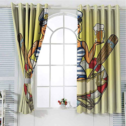 Jinguizi Grommet Window Curtain Room Darkening Curtains for Bedroom Girls,Pin-Up Sexy Sailor Girl Lifebuoy with Captain Hat and Costume Glass of Beer Feminine,Multicolor Wall Curtain 63 x 45 inch
