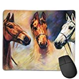 Non-Slip Mouse Pad Rubber Mousepad Horse Painting Print Gaming Mouse Pad 18 * 22 cm
