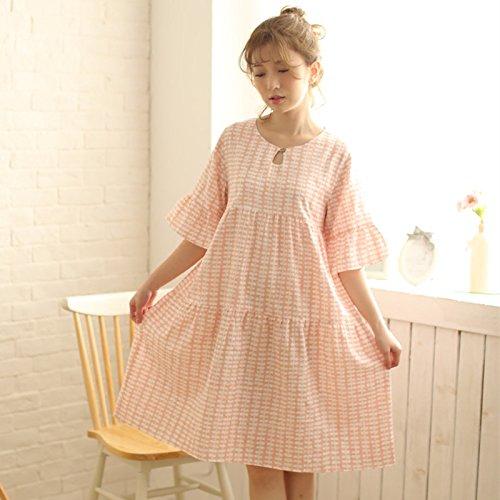 dolce a in loto cotone Xiaoxiaozhang pigiama gonna di miele sottile girocollo vestito Estate casa M foglia q887xtA