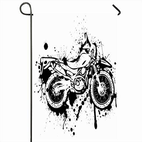 Ahawoso Outdoor Garden Flag 12x18 Inches Motorcycle Dirt Splatter Ink Dual Purpose Enduro Dirtbike Bike KTM Motorbike Moto Design Liquid Two Sides Seasonal Home Decor House Yard Sign Banner