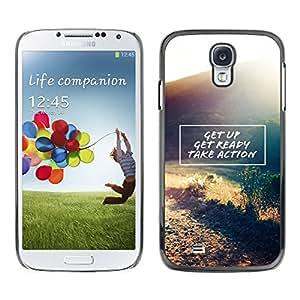 Get Up Actúa Cita de motivación - Metal de aluminio y de plástico duro Caja del teléfono - Negro - Samsung Galaxy S4
