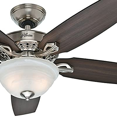 "Hunter Fan 52"" Brushed Nickel Ceiling Fan with Swirled Marble Glass Bowl Light Kit (Certified Refurbished)"