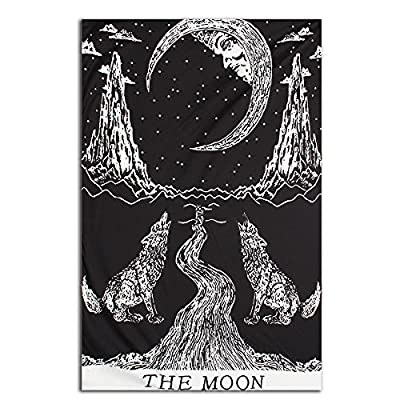 Jeteven Wolf Moon Polyester Hanging Tapestry Wall Hanging Blanket Bedspread Beach Towels Picnic Mat Home Decor 210X130cm