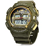 ELEOPTION® Male Watch Chronograph Calendar Digital LED Backlight Rubber Strap 3BAR Water Resistant Bracelet Watch (Army Green)