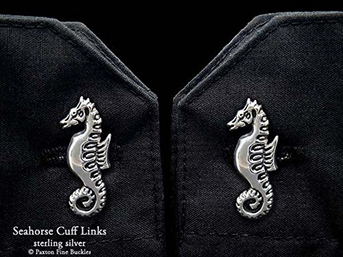 Seahorse Cuff Links in Solid Sterling Silver Hand Carved & Cast by Paxton by Paxton Jewelry