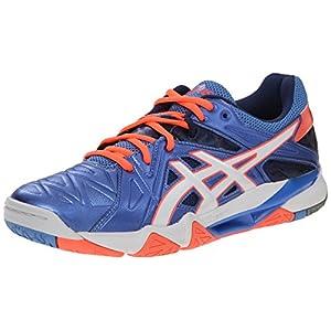 ASICS Women's Gel Cyber Sensei Volleyball Shoe, Powder Blue/White/Coral, 9 M US
