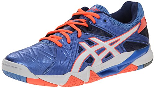 ASICS Women's Gel Cyber Sensei Volleyball Shoe, Powder Blue/White/Coral, 8 M US